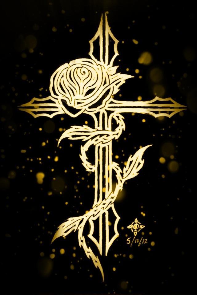 Golden Rose Wallpaper Golden Rose Cross by Penryck13