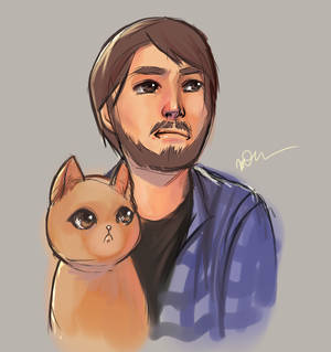 Dude and his cat.
