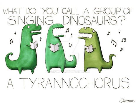 What do you call a group of singing dinosaurs?