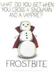 Cross a snowman with a vampire