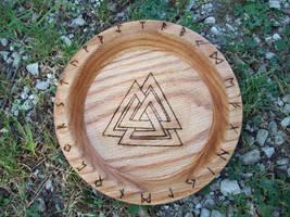 Asatru Valknut Oak Blot Bowl