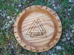Asatru Valknut Oak Blot Bowl