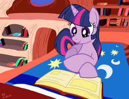 Twilight Sparkle and a good book by LateCustomer