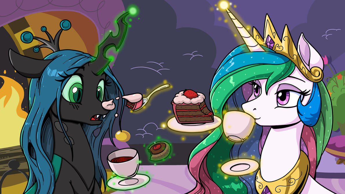 Tea and Sweets with Chrysalis and Celestia