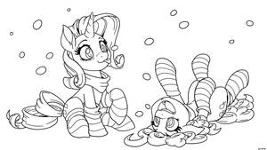 Rarity and Pinkie, It's Snowing! (inks)