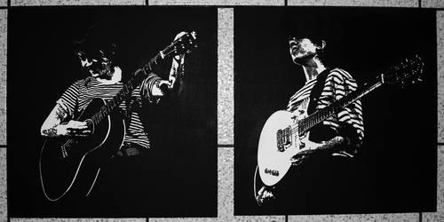Tegan + Sara stencils by beckenslobber