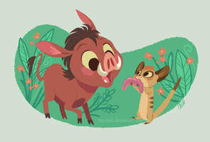 timon and pumbaa by tinysnail