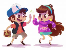 Mabel and Dipper by tinysnail