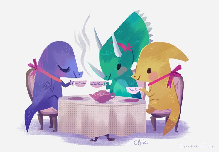 dino tea party by tinysnail