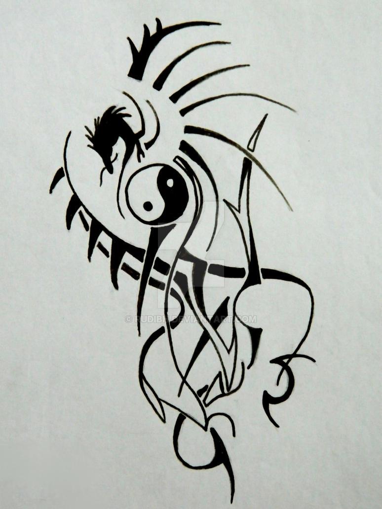 Tribal Ying Yang Dragon Tattoo By Rudibh On Deviantart