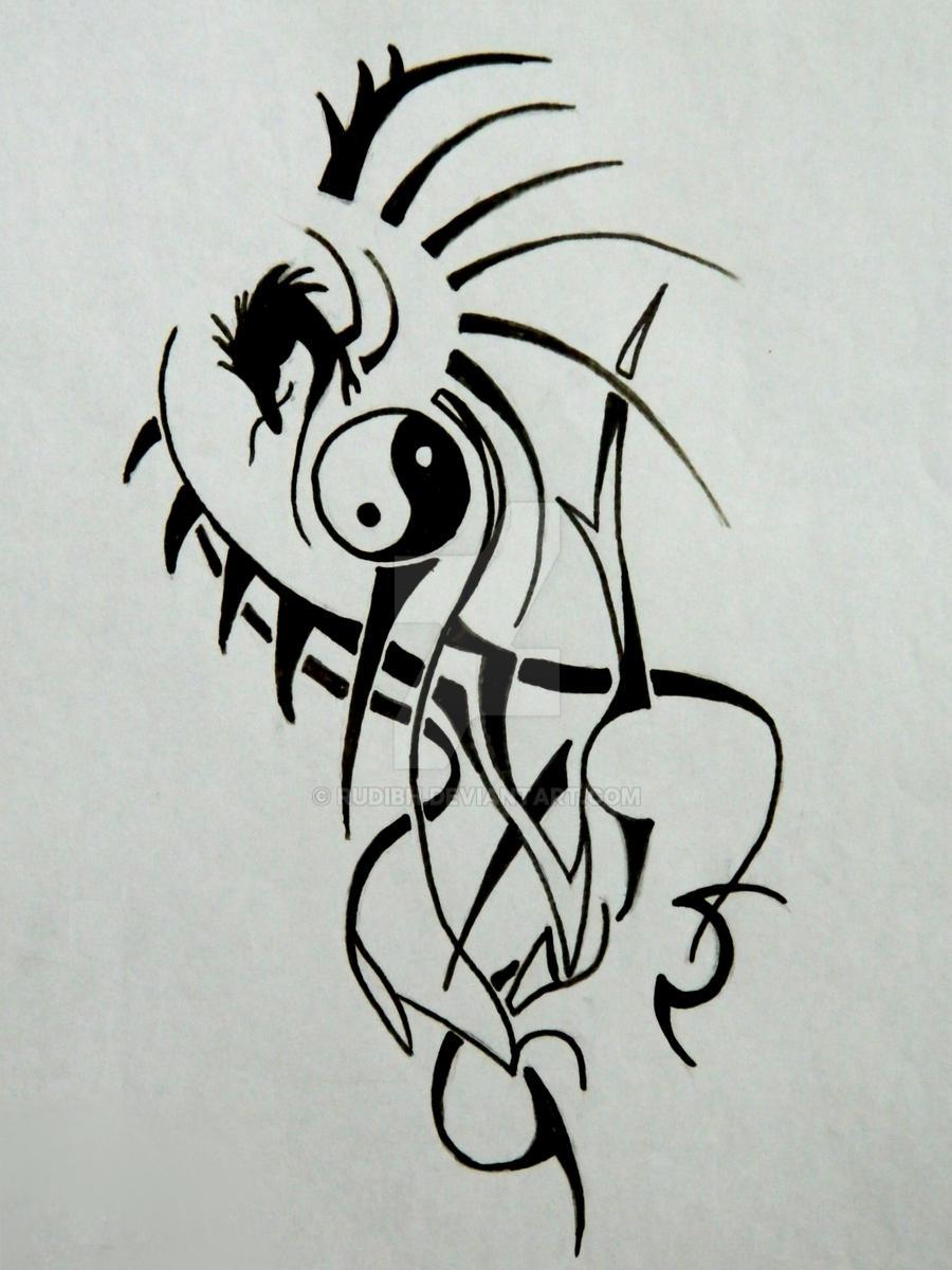 Tribal Ying-Yang Dragon tattoo by RudiBH on DeviantArt
