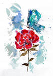 Rose and Butterfly Watercolor - ZeichenbloQ.de