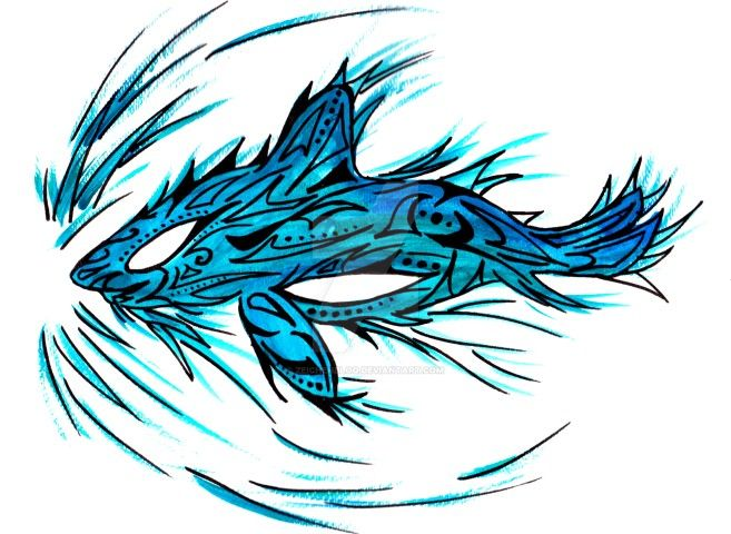 Turquoise Shark Tattoo - ZeichenbloQ.de by MarcHorn