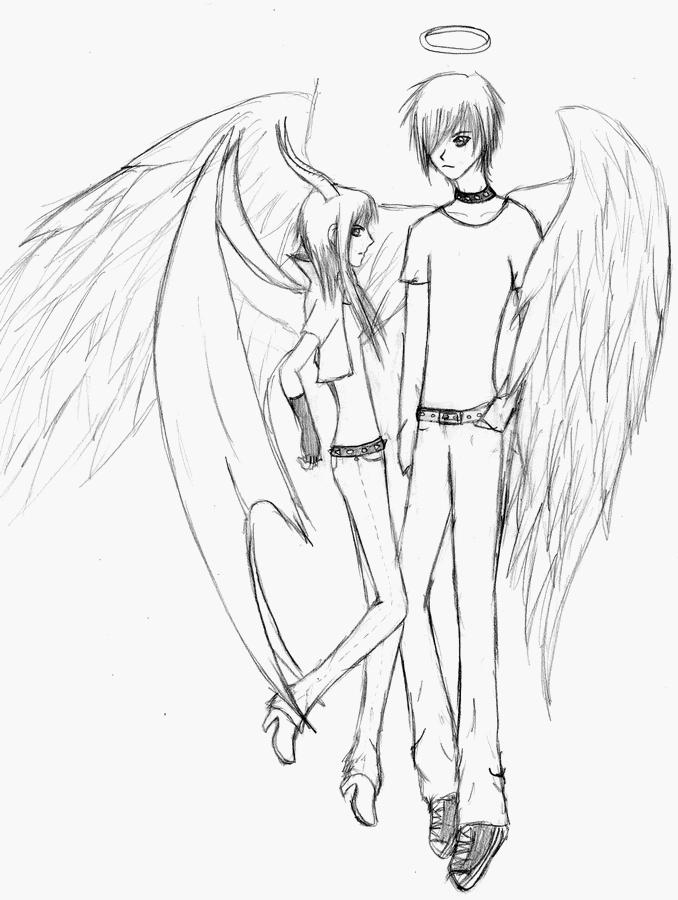 Angel and demon by Lucie-P on DeviantArt. lucie-p.deviantart.com.