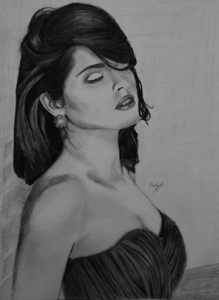 Beautiful girl pencil drawing by solixious