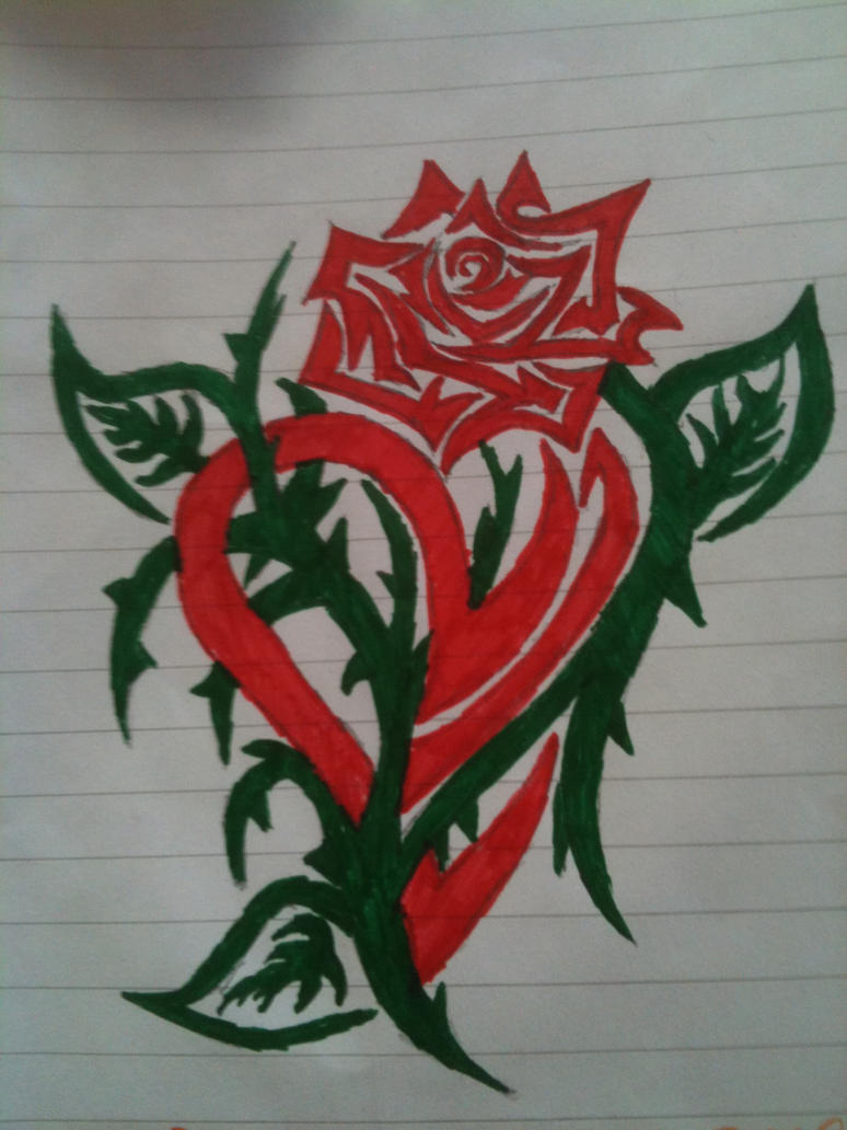 Tribal Heart and Rose by hellomoto02 on DeviantArt