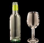 bottle and wine glas transparent