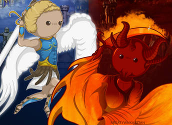Cute Chibi Fight - Archangel VS. Zydar - Heroes 3 by KreatywnKasztan