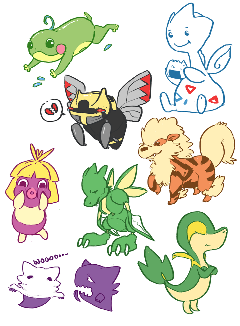 pokemon doodle dump by KingTheory