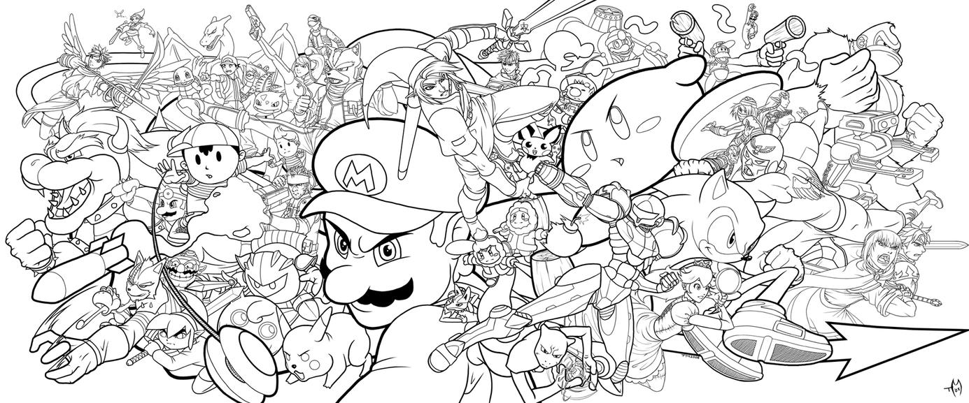Wii U Coloring Pages : Super Smash Bros. by Zombie Graves on DeviantArt