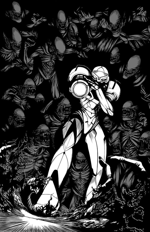 Samus VS Aliens Inks by Zombie-Graves