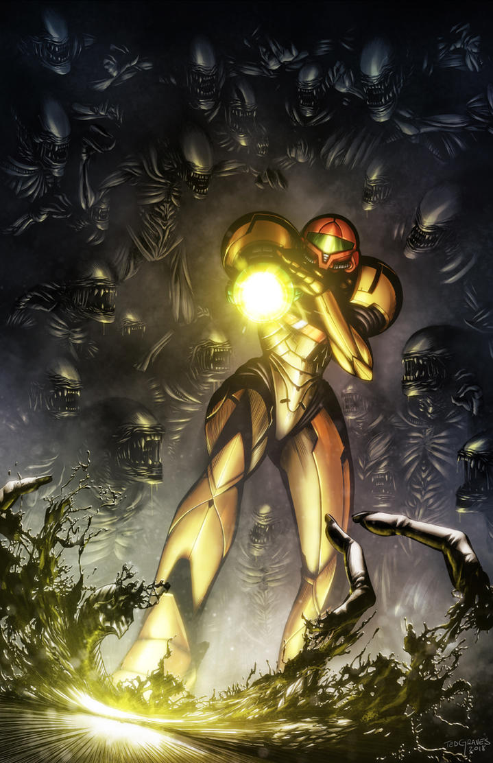 Samus VS Aliens by Zombie-Graves
