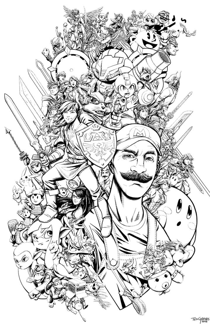 Super Smash Bros 2018 Inks by Zombie-Graves
