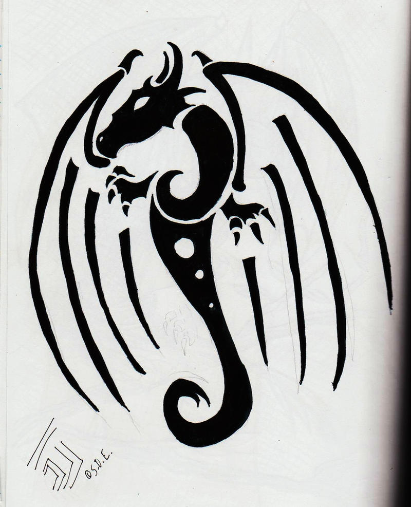 Swirl Dragon Tribal Tattoo by