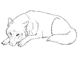 Wolf Lineart 3 by Dark-Forest-Faerie