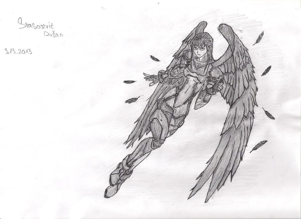 anime kinda angel pencil drawing by trixogeddon3 on