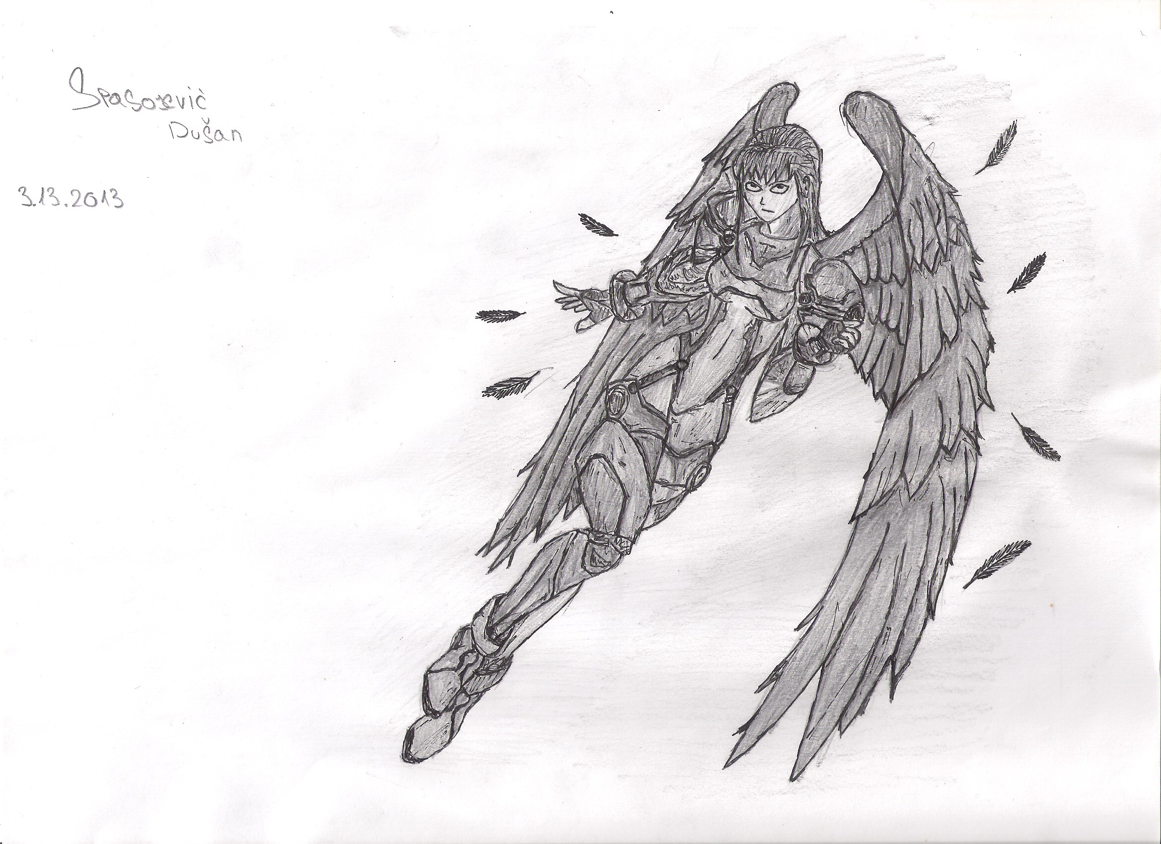 Anime kinda angel pencil drawing by trixogeddon3 on deviantart
