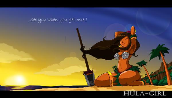 Hula-Girl Sunset Desktop by ShoNuff44