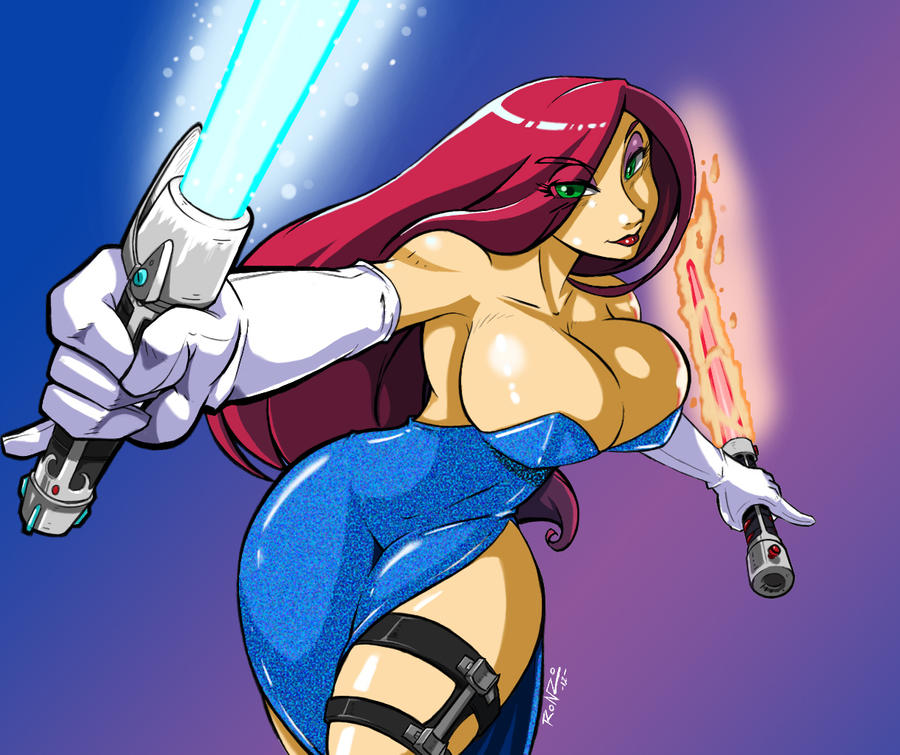 Elemental  Jedi Jessica Rabbit comm. by ShoNuff44