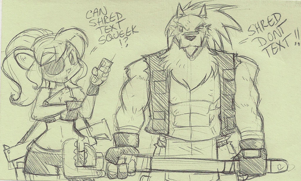 Lunchtime post it doodle: Shred as THE WRENCH by ShoNuff44