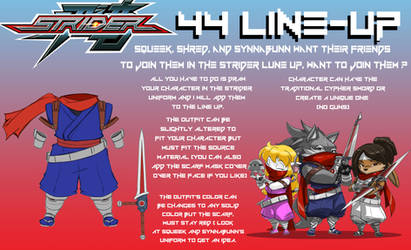 Shred, Squeek, and Synnabunn's Strider 44 Line Up by ShoNuff44