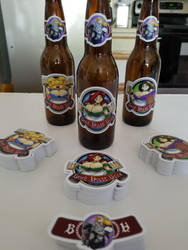 BEER LOGO BEER with stickers on bottles