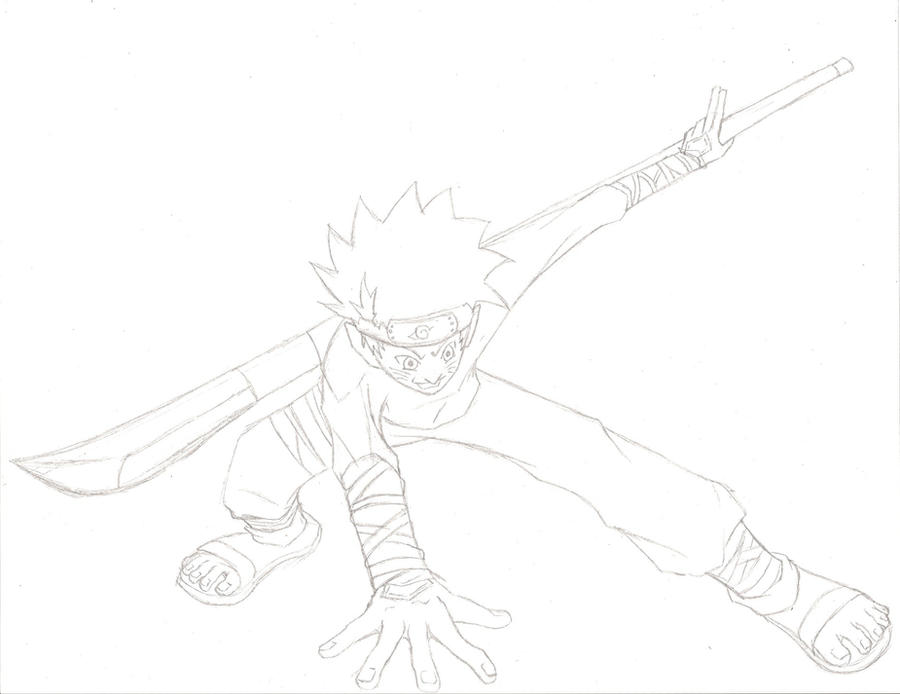 Naruto with naginata sketch by Hinata0321