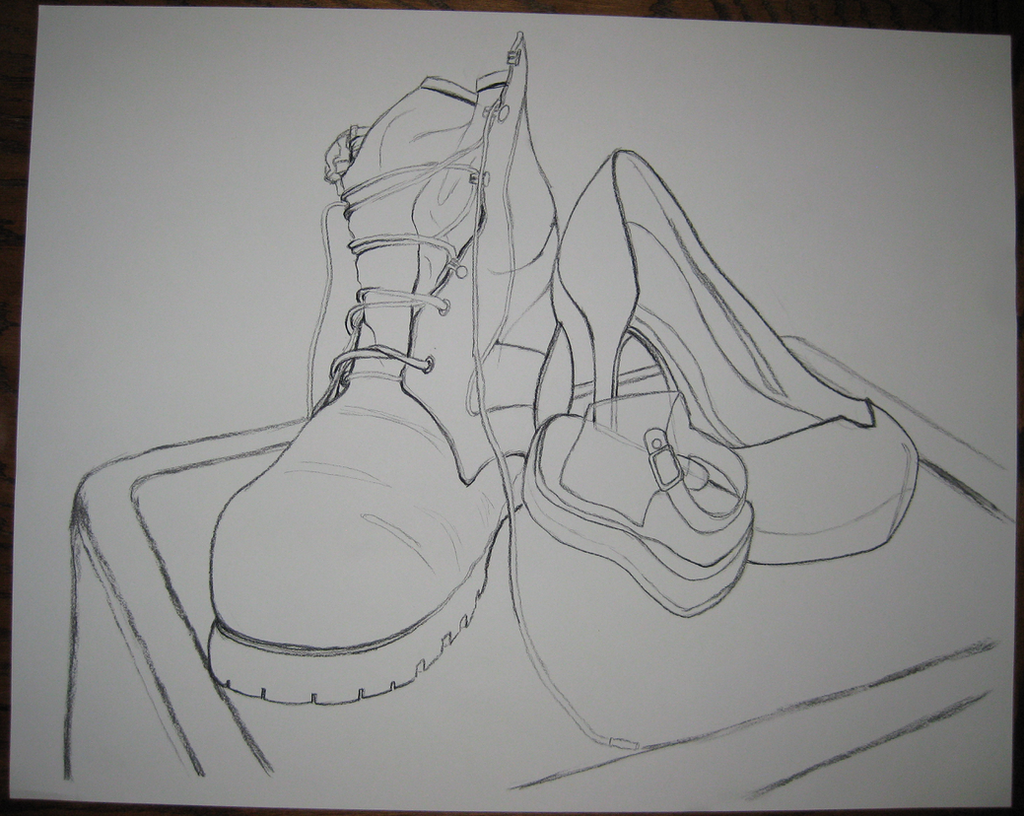 Contour Line Drawing Of A Shoe : Contour drawing shoes by empy on deviantart