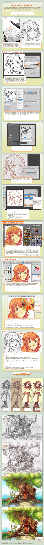 tutorial : pencil to digital painting by Deevad