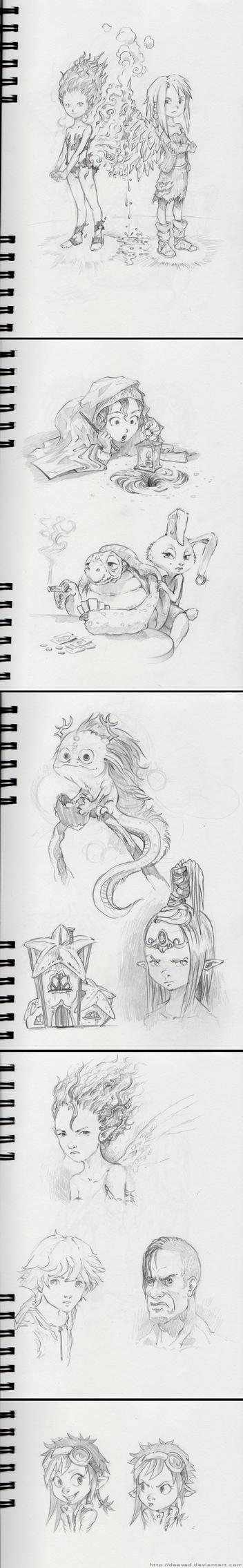 October 2012 Sketchbook Dump by Deevad
