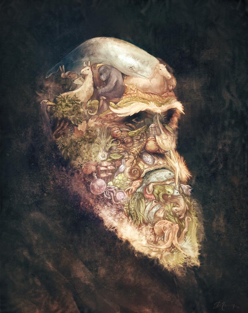 portrait of Charles Darwin by Deevad