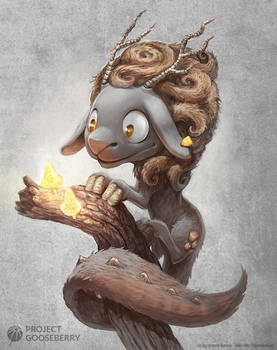 A cute fantasy dragon sheep