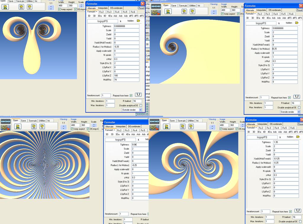 Sample parameters for logspIFS by dark-beam