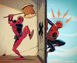 Spidey v Deadpool by MeisterMash