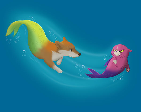 Mercorgi and Catfish by flashf0x