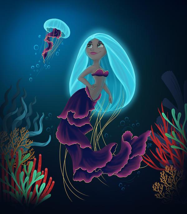 Jellyfish Mermaid by flashf0x