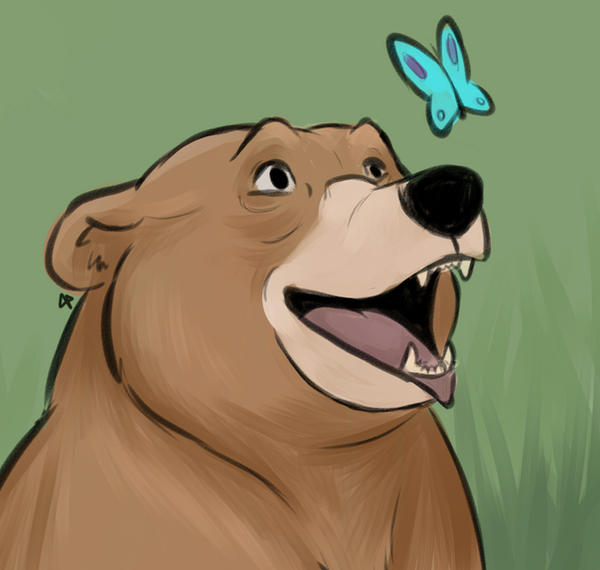 Butterfly and bear by flashf0x