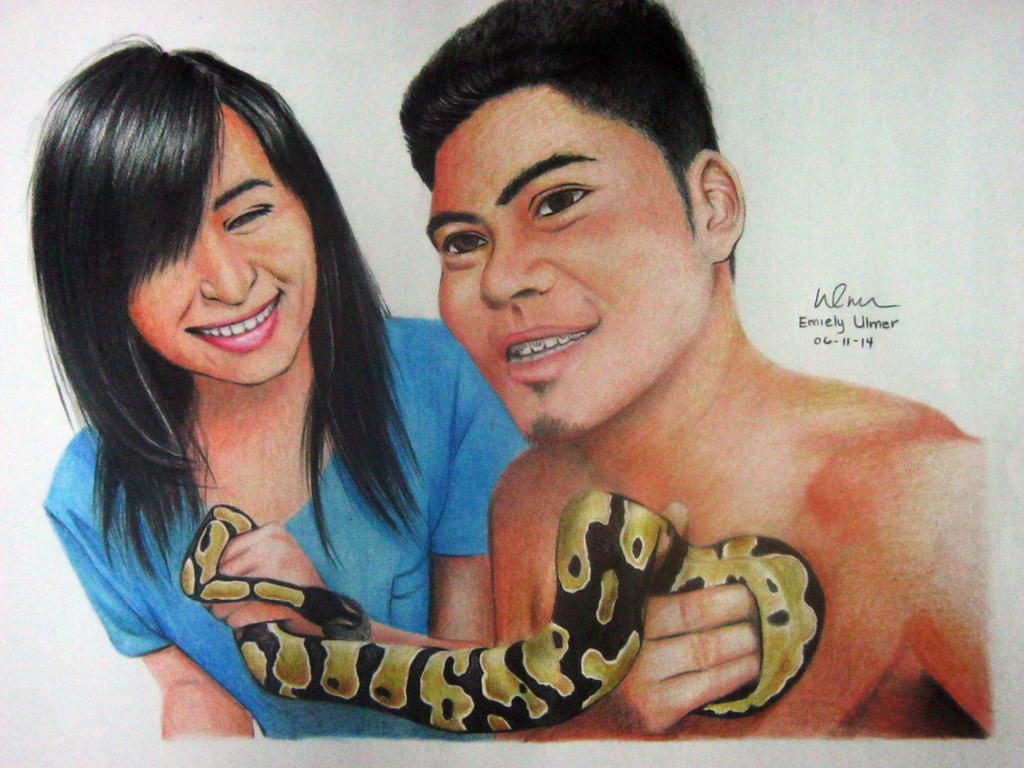 With my boyfriend and his ball python by emiely