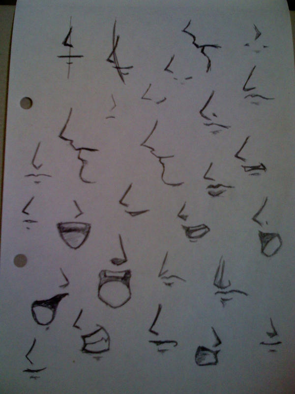 how to draw female anime mouth