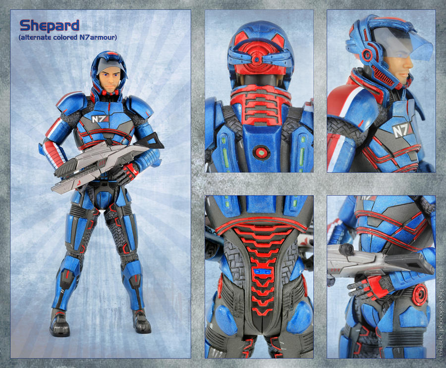 Shepard in coloured armour by shatinn
